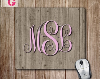Monogram Mousepad on Grey Wooden Plank Background, Woodgrain Mouse pad, Personalized Mouse Pad, Cute Desk Accessory