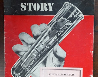 Vintage Magazine Titled The Railroad Story | 1955 Informational Magazine About Science, Research, and Railroad Progress