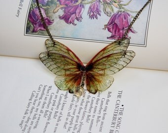 Beautiful Golden Flower Fairy/Butterfly Wing Statement Necklace