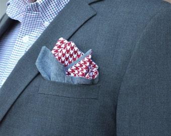 Chambray Pocket Square, Houndstooth Pocket Square, Crimson Pocket Square, Double Sided Pocket Square, Crimson Houndstooth Pocket Square