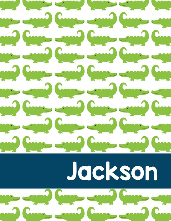 Boy:  Alligator Personalized Printable Binder Cover