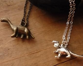 Dinosaur Necklace, T-Rex Necklace, Tyrannosaurus Rex, Dinosaur Charm, Brontosaurus, Apatosaurus Charm