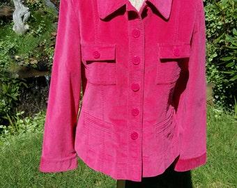 Hot Pink Stretch Velvet Jacket Blazer by Talbots With Buttoned Patch Pockets Size 12