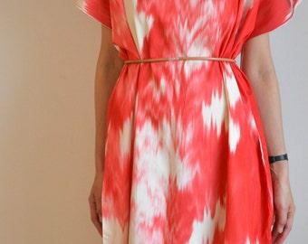 Kasuri simple silk dress