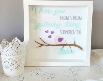 Shadowbox - Bird - Baby Room - Baby Shower Gift - White Aqua Pink purple - Nursery Decor - I love you through- Baby's name - custom