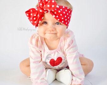 RUBY DOTS Gorgeous Wrap- headwrap; fabric head wrap; polka dot head wrap; newborn headband; baby headband; toddler headband; baby headwrap