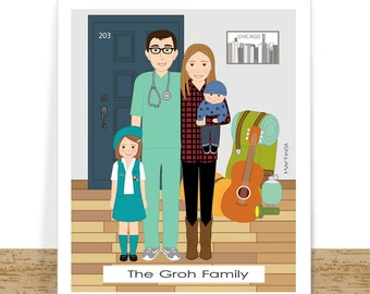 Digital custom family portrait- cartoon portrait- family gift- home decor- gift for husband- Wall Art