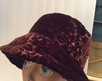 50% Off Sale Vintage Chocolate Brown Floral Velvet Slouchy Cloche Hat