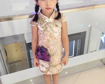 chinese style cheongsam handmade for 1-10 girl pink/white