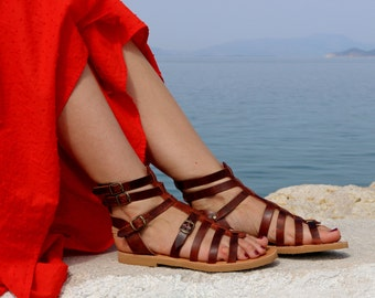 NEW Handmade Leather Gladiator Sandals, Full Grain Leather Sandals - Women Sandals - Brown color - waxed  leather