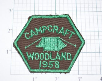 Campcraft Woodland District 1958 Philadelphia Council Boy Scouts Patch BSA Patch Scouting RARE Vintage Sew-On Patch Brown Background e9b