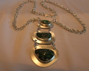 Three tiered pendant necklace, varicite cabochon stones, sterling silver chain