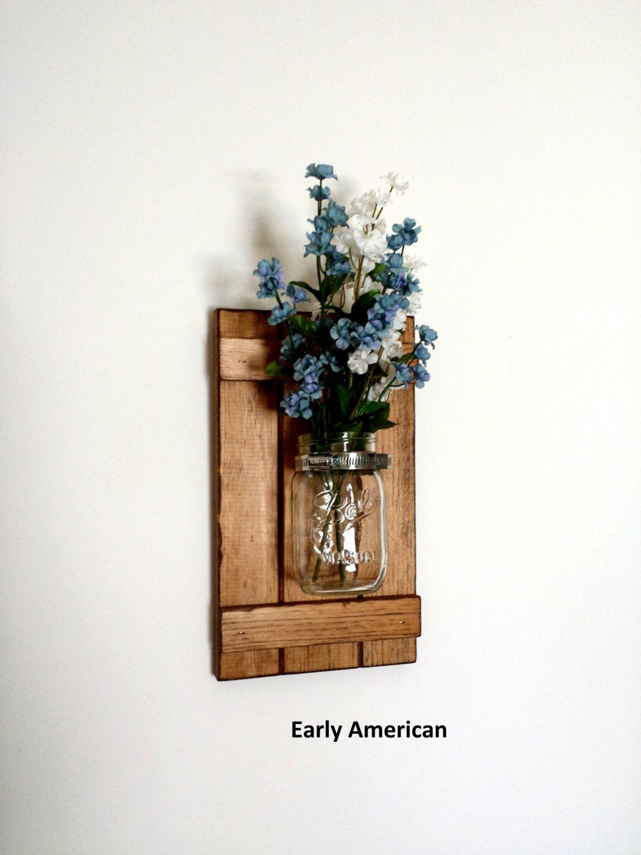 set of 2 rustic mason jar wall decor shutter wall decor. Black Bedroom Furniture Sets. Home Design Ideas