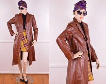 70s Brown Leather Trench Coat