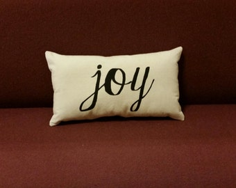 Joy decorative throw pillow with script font - Great inspirational gift for Christmas or any occasion! 10x18 inches