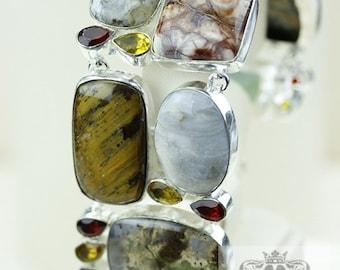 Scenic Agate CHRYSOPRASE Moonstone Tiger Eye 925 S0LID Sterling Silver Bracelet & FREE Worldwide Express Shipping B1971