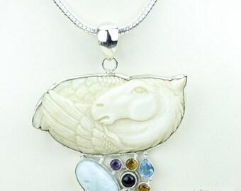 Larimar Pegasus TOTEM Goddess Face Moon Face Bone Carving 925 S0LID Sterling Silver Pendant + 4MM Chain p3892