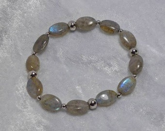 Natural Labradorite Gemstone Beaded Stretch Bracelet w/Stainless Steel Accents  (452846992)