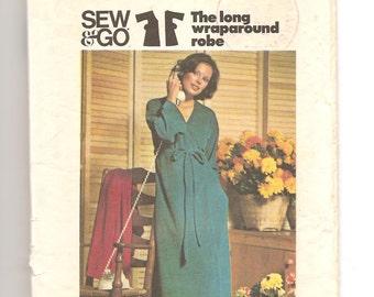 1970's Butterick 3966 Pattern Wraparound dress Kimono Dressing gown Bathrobe Size Medium 14 16 Vintage garment women Boho