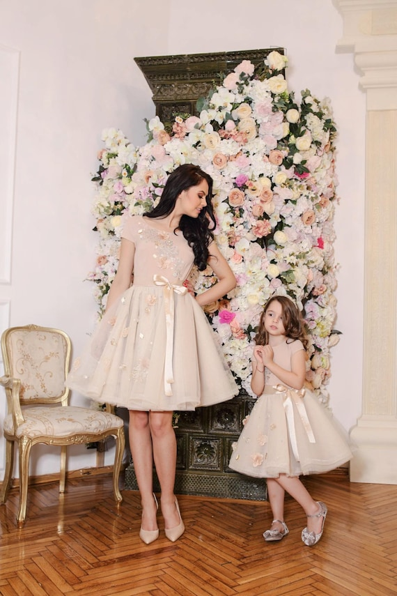 Mother Daughter Matching Dress - Beige Floral Tulle Dress - Flower Girl - Tutu Dress -  Engagement tulle dress - Baby Pageant