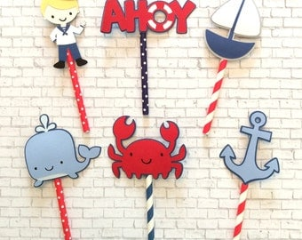 Nautical Sailor Cupcake Toppers
