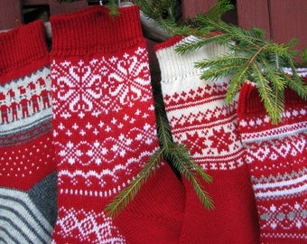 For 2016 Knitted Christmas Stockings set of 4 knit Holiday Santa socks Christmas socks for gifts  Stockings Scandinavian knit customized
