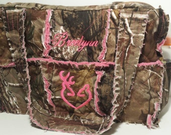 RealTree pink camo diaper bag, 15 wide x 10 tall x 5 deep, pink camo diaper bag, personalized camo diaper bag