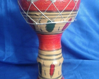 Moroccan Terracotta Finger Drum, Rawhide, Handmade & Painted (B)