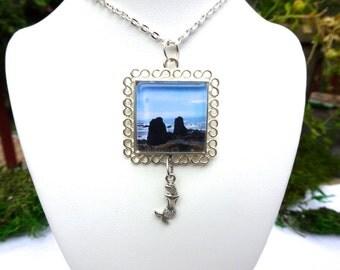 Ocean Cliff Necklace, Ocean Jewelry, Mermaid Charm Necklace, Ocean Pendants, Sea Jewelry, Mermaid Necklace. Mermaid Pendants