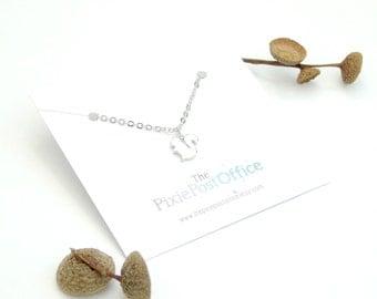Squirrel necklace, squirrel pendant, rhodium  squirrel, woodland jewellery, woodland jewelry, autumn fall