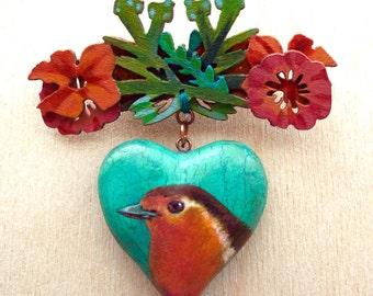 Heart robin pin