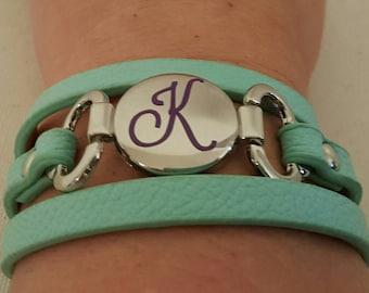 Initial thin strap wrap bracelet