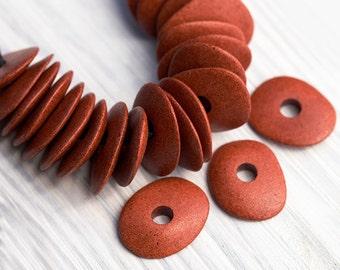 10 Pcs Greek Ceramic Cornflake Chips, Earthy Jewelry Supplies, Burnt Sienna, Mykonos Ceramic Spacer Beads, 16x13mm, MK169