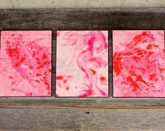 Pink Red Marbled Artwrok