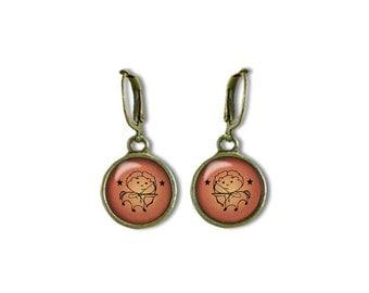 Zodiac Sagittarius Earrings, Sagittarius Dangle Earrings, Zodiac Earrings, Astrology Earrings