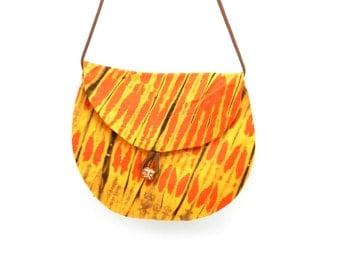 Crossbody Hip Bag, Fabric Purse, Gold and Orange Bag, Made in Rwanda, Hippie Style Bag, Shoulder Bag, Crossover Purse, Ethnic Fabric Bag