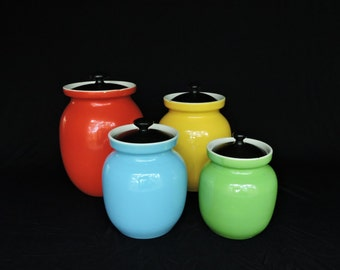 Vintage Canister Cookie Jar Set of Four Primary Colors Made in Italy