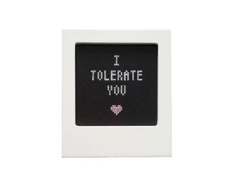 I Tolerate You framed cross stitch