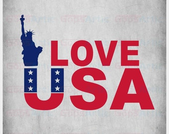I Love usa -SVG,DXF,EPS,png Files