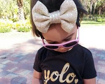 gold yolo baby shirt // baby tee // baby shirt
