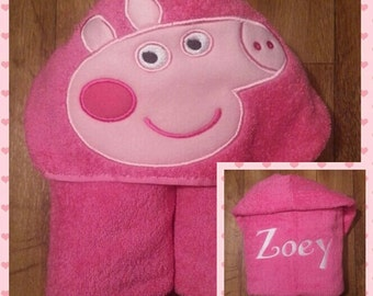 Peppa Pig Inspired Hooded Towel  with FREE embroidered name