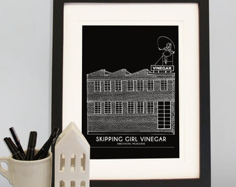 Melbourne A4 Skipping Girl Vinegar building print, Melbourne Print, Australia print, Little Audrey, Architectural drawing