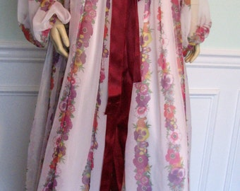 Vintage Gown Chiffon Floral Rona New York 1970s Boho Party Romantic