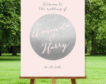 Silver Wedding Welcome Sign / Silver Welcome / Metallic Silver and Blush Pink / Blush and Gray Sign ▷ Printable File {or} Printed & Shipped