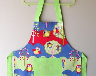 Toddler Apron, Owl Apron, Kids Apron, Child Apron, Jungle Animals Apron, Kitchen Apron, Art Apron, Craft Apron, Animal Apron, Play Apron