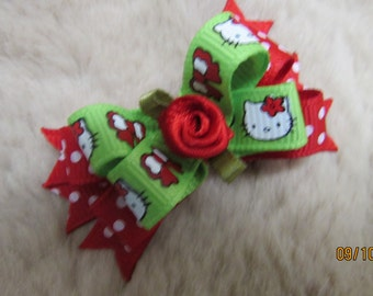 "Mo's USA Dog Bow - 2"" Hello Kitty boutique dog bow - red and green, polka dot - yorkie bow"