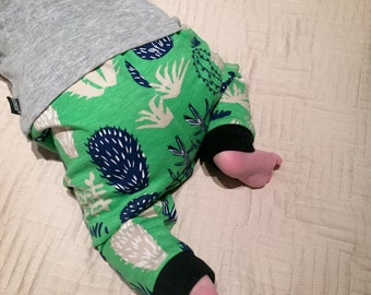Baby Leggings. Cactus leggings. Boys leggings. Green, blue, tan handmade pants. Baby shower gift. Baby boy or baby girl, unisex pants