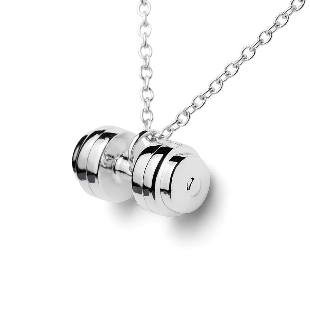 Sterling Silver Dumbbell Necklace Charm Lady S By Fitselection