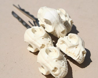 Ivory colored resin cat skull bobbie pin set- comes with 5 bobbie pins