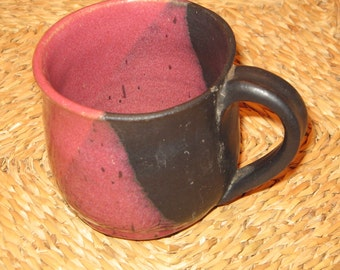 Rose and Black Stoneware Cup
